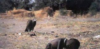 Vuajtjet e një fëmije afrikan që duket sikur pret vdekjen...pas korbi pret vaktin e radhës